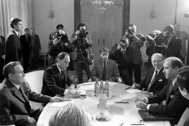 Translating for USSR Foreign Minister Andrei Gromyko, US Senator Joe Biden and Ambassador Jack Matlock, Moscow, January 1988