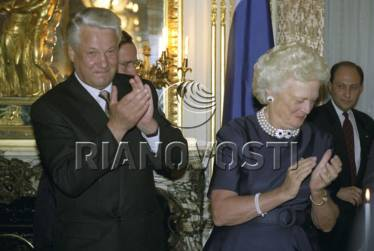 Translating for President Yeltsin and US First Lady Barbara Bush, Washington DC, 1992