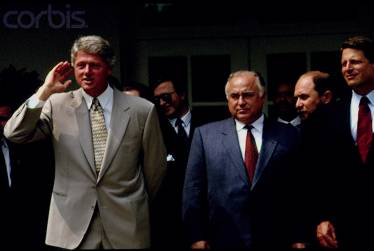 Translating for Prime Minister Chernomyrdin, President Clinton and Vice President Al Gore, Washington DC (also in picture, Presidential Adviser Alexander Shokhin)