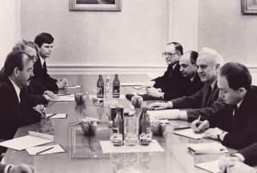 Translating for Soviet Foreign Minister Eduard Shevardnadze