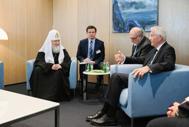 Interpreting at a meeting between Council of Europe Secretary General Thorbjorn Jagland and Patriarch Kirill of Moscow and All Russia, 2019 Strasbourg