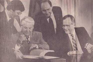 Translating for PresidentsYeltsin and George H.W. Bush, START Treaty signing ceremony, Washington DC