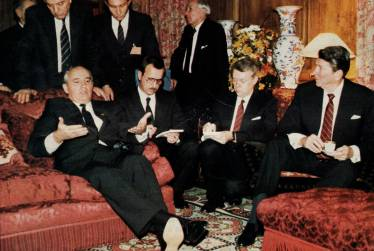 Translating for Presidents Gorbachev and Reagan,Geneva Summit, also in the picture USSR Foreign Minister Eduard Shevardnadze and US Chief of Staff Donald Regan (Versoix, canton of Geneva, November 1985, at the villa of the Aga Khan)