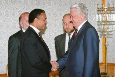 Translating for Russian President Boris Yeltsin and US Secretary of Commerce Ron Brown, Moscow 1994