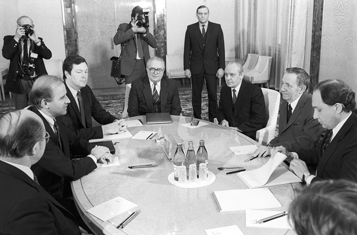 Senator Joseph Biden (second from left) of Delaware, Member of the Senate's the Foreign Relations Committee and Chairman of the USSR Supreme Soviet's Presidium Andrei Gromyko (second from right) during the negotiations in the Kremlin.  Vladimir Rodionov/Sputnik