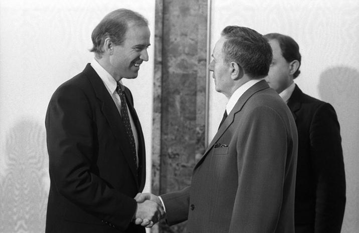 Joe Biden shakes hands with Andrei Gromyko.  Vladimir Rodionov/Sputnik