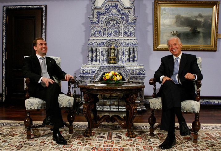 Vice President of the United States Joe Biden, right, and Russian President Dmitry Medvedev smile during their meeting at the Gorky presidential residence outside Moscow, Russia, Wednesday, March 9, 2011.  AP